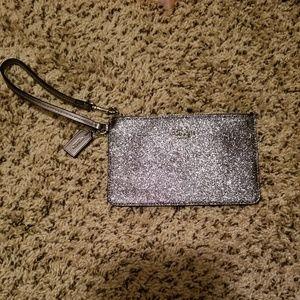 Coach silver sparkle glitter wristlet